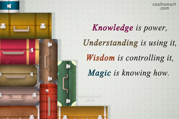 Power Quote: Knowledge is power, Understanding is using it,...