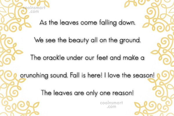 Autumn Quote: As the leaves come falling down. We...