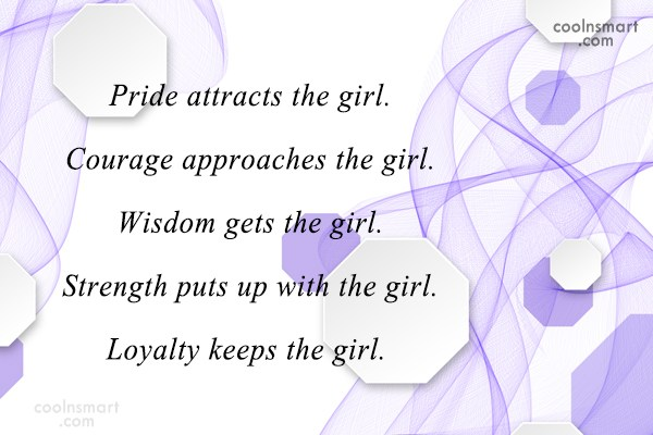 Loyalty Quote: Pride attracts the girl. Courage approaches the...