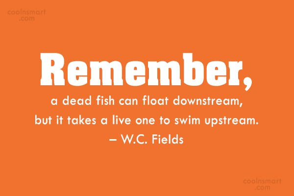 Quote: Remember, a dead fish can float downstream,...