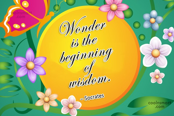 Quote: Wonder is the beginning of wisdom. –...