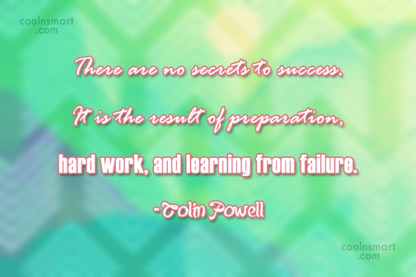 Failure Quote: There are no secrets to success. It...