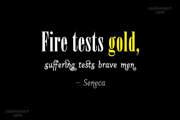 Suffering Quote: Fire tests gold, suffering tests brave men....