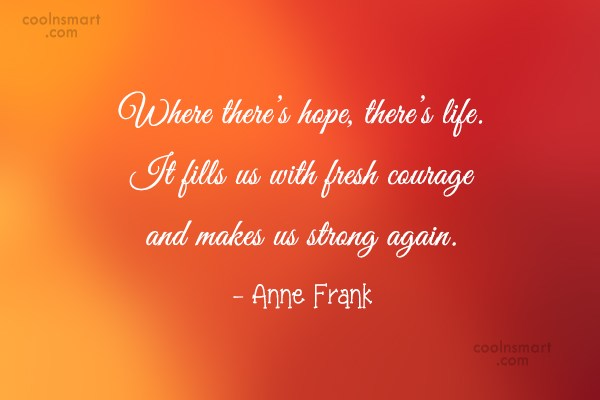 Hope Quote: Where there's hope, there's life. It fills...