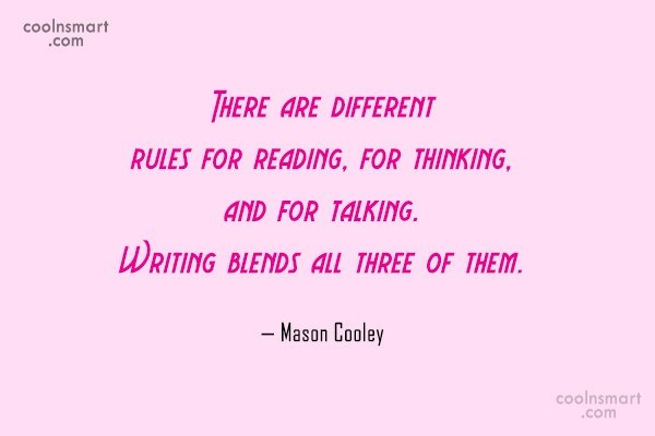 Quote: There are different rules for reading, for...