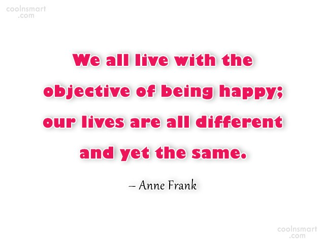 Happiness Quote: We all live with the objective of...