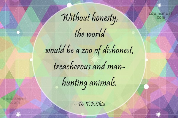 Honesty Quote: Without honesty, the world would be a...