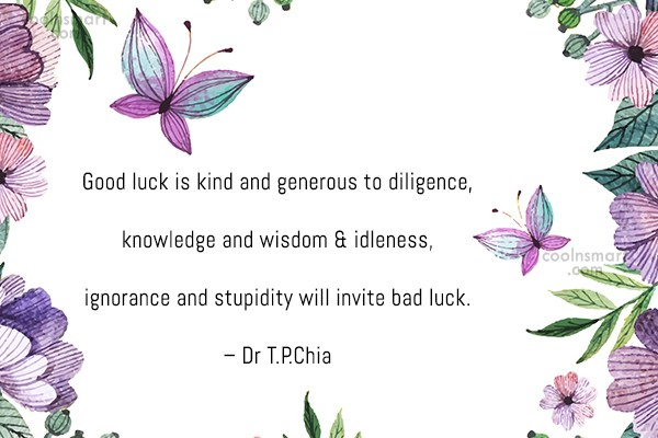 Luck Quote: Good luck is kind and generous to...