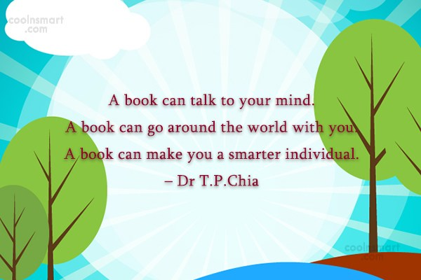 Book Quote: A book can talk to your mind....