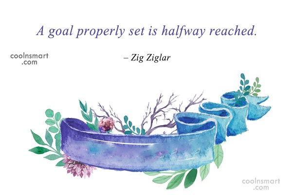 Quote: A goal properly set is halfway reached....