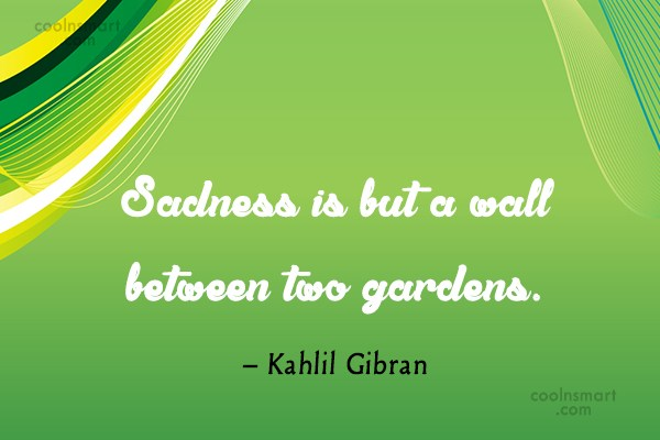 Quote: Sadness is but a wall between two...