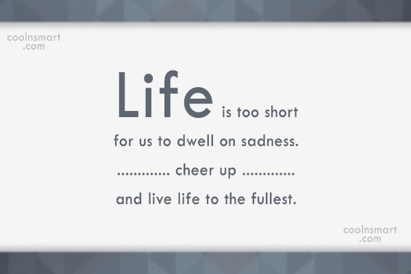 Cheer Up Quote: Life is too short for us to...