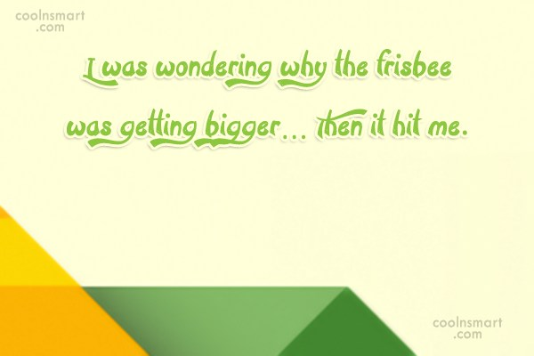 Stupid Quote: I was wondering why the frisbee was...