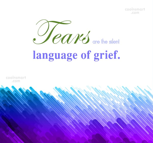 Grief Quote: Tears are the silent language of grief.