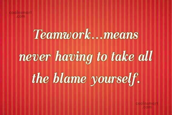 Teamwork Quote: Teamwork…means never having to take all the...