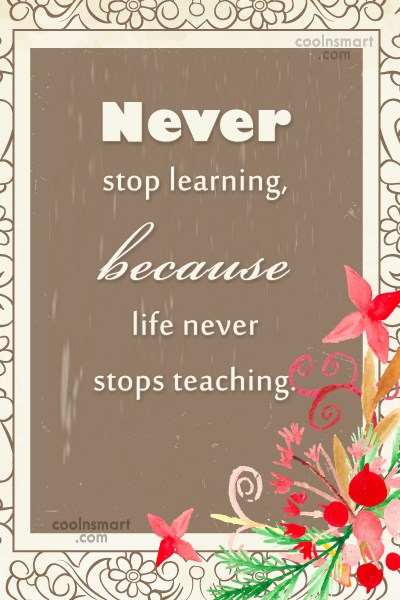 Learning Quote: Never stop learning, because life never stops...