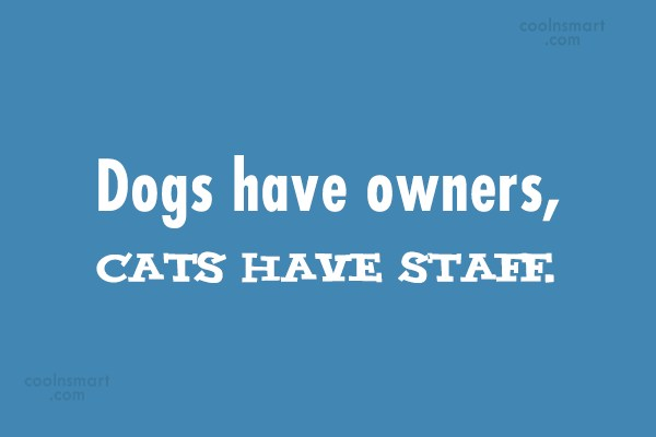 Cats Quote: Dogs have owners, cats have staff.