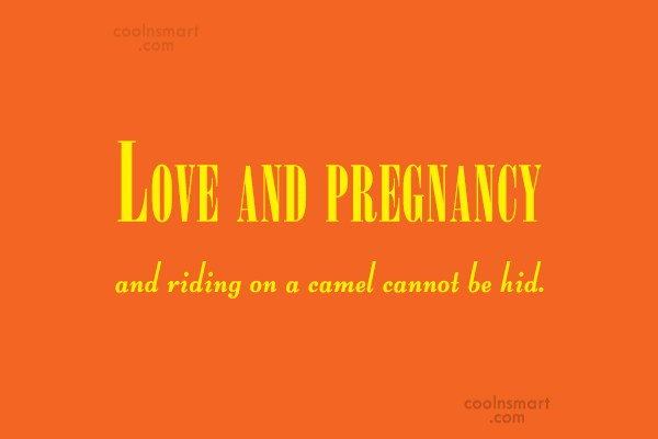 Pregnancy Quote: Love and pregnancy and riding on a...