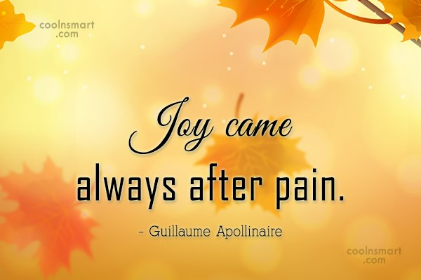 Joy Quote: Joy came always after pain. – Guillaume...