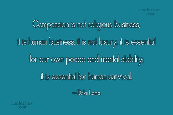 Compassion Quote: Compassion is not religious business, it is...
