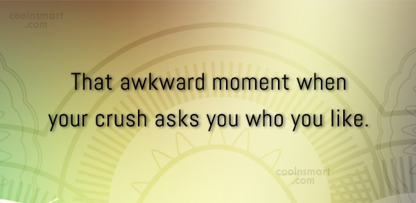 Funny Awkward Moments Quote: That awkward moment when your crush asks...