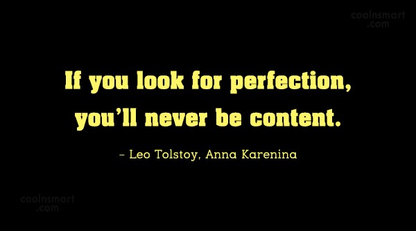 Contentment Quote: If you look for perfection, you'll never...