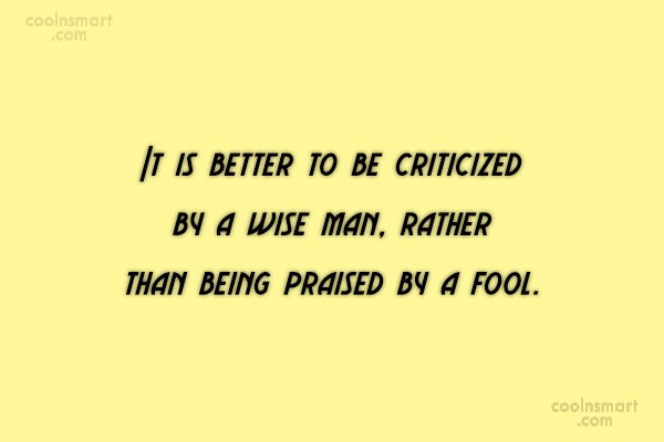 Criticism Quote: It is better to be criticized by...