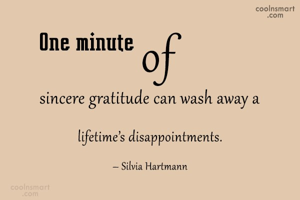 Disappointment Quote: One minute of sincere gratitude can wash...