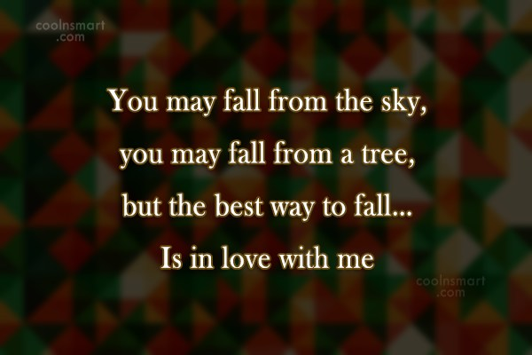 Flirting Quote: You may fall from the sky, you...
