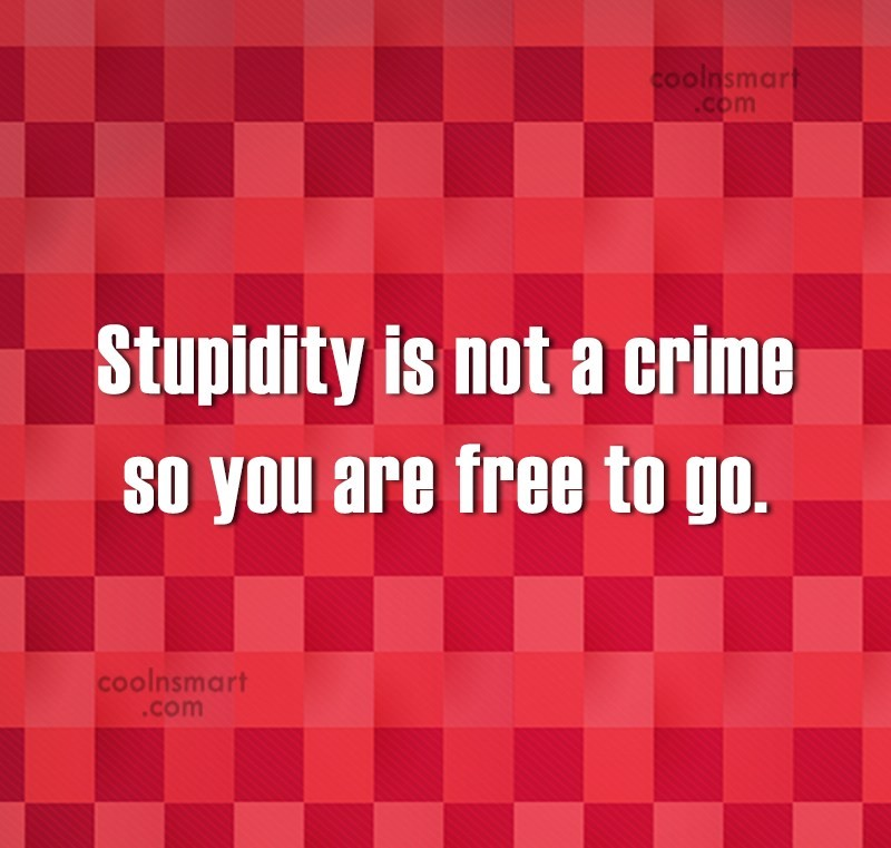 Insult Quote: Stupidity is not a crime so you...
