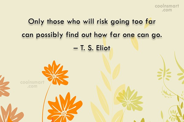 Risk Quote: Only those who will risk going too...