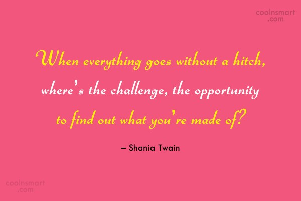 Challenge Quote: When everything goes without a hitch, where's...