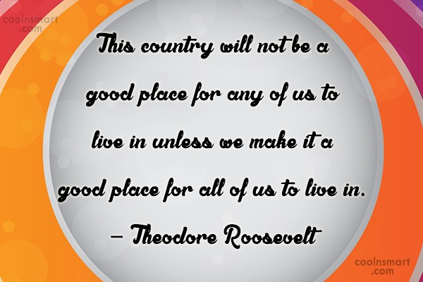 Community Service Quote: This country will not be a good...