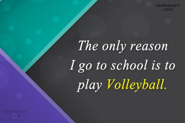 Volleyball Quote: The only reason I go to school...