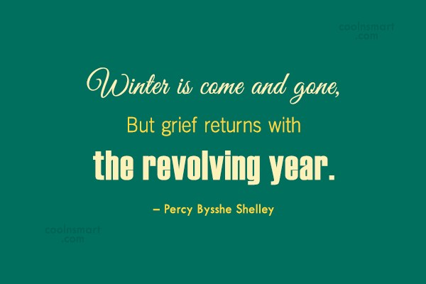 Winter Quote: Winter is come and gone,But grief returns...