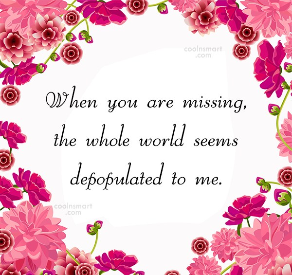 Missing You Quote: When you are missing, the whole world...
