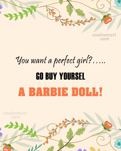 Perfection Quote: You want a perfect girl?…..GO BUY YOURSELF...