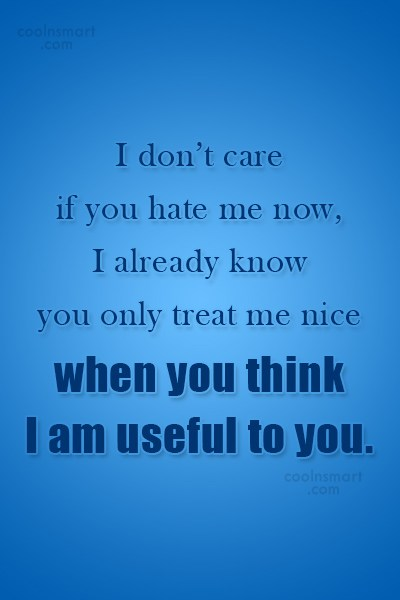 Being Used Quote: I don't care if you hate me...