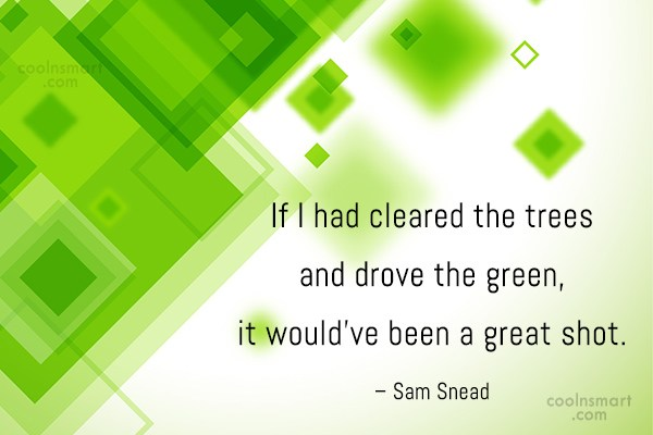 Funny Golf Quotes Quote: If I had cleared the trees and...