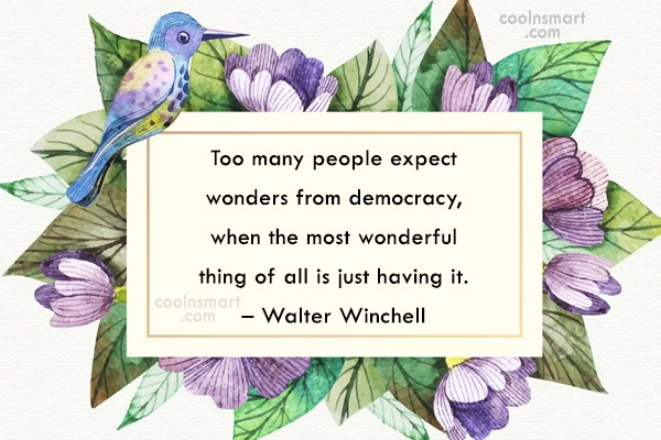 Government Quote: Too many people expect wonders from democracy,...