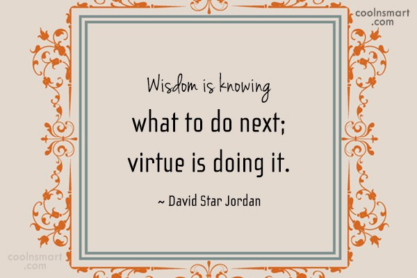 Quote: Wisdom is knowing what to do next;...