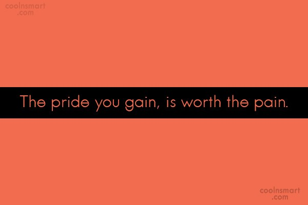 Pride Quote: The pride you gain, is worth the...