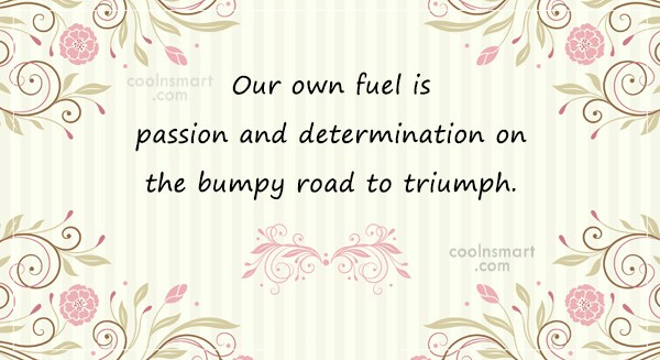 Determination Quote: Our own fuel is passion and determination...