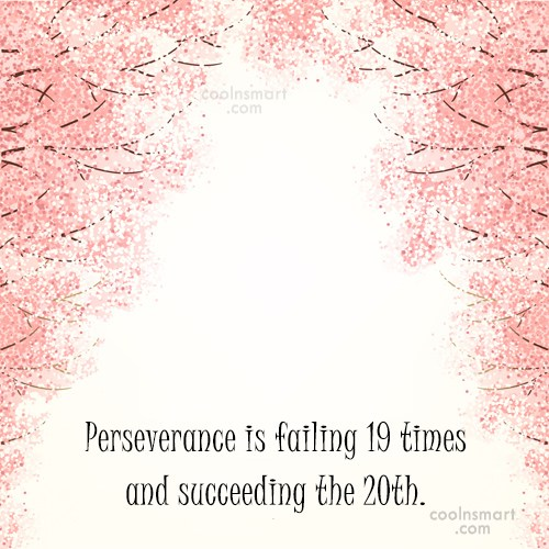 Failure Quote: Perseverance is failing 19 times and succeeding...