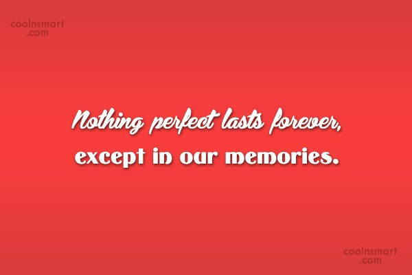 Perfection Quote: Nothing perfect lasts forever, except in our...