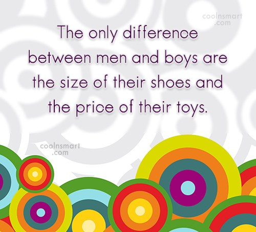 Funny Men Quotes Quote: The only difference between men and boys...