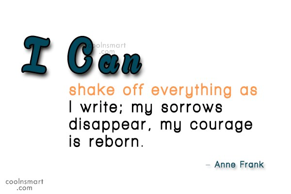 Writing Quote: I can shake off everything as I...