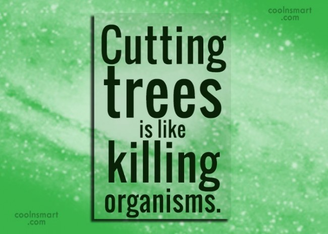 Environment Quote: Cutting trees is like killing organisms.