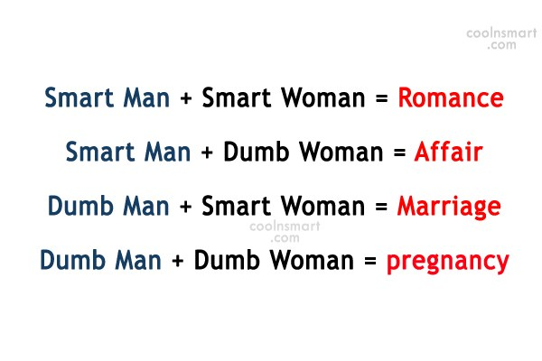 Funny Quote: Smart Man + Smart Woman = Romance...
