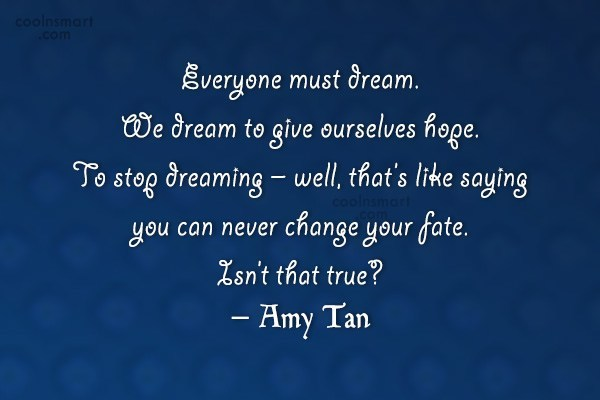 Dream Quote: Everyone must dream. We dream to give...